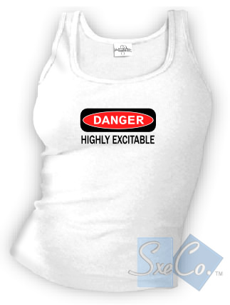 DANGER HIGHLY EXCITABLE tank top