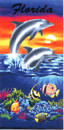 Dolphins at Sunset Beach Towel