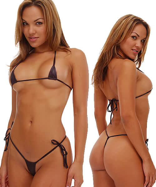 b34 4007 ... skimpy white bikini, precariously held together by string like material.
