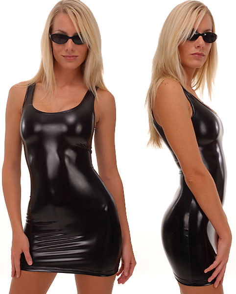Tank Mini Dress in Super Stretch Black Vinyl