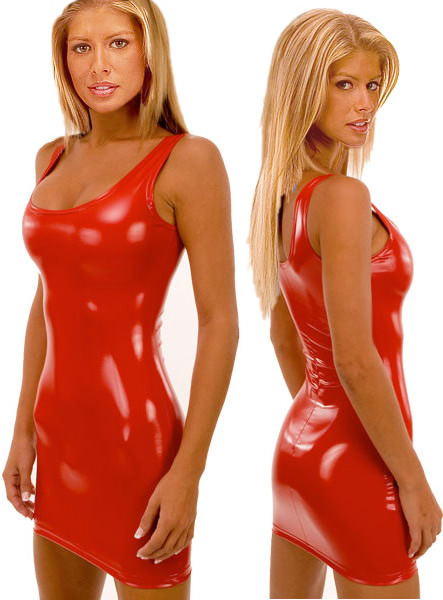 Tank Mini Dress in Super Stretch Red Vinyl