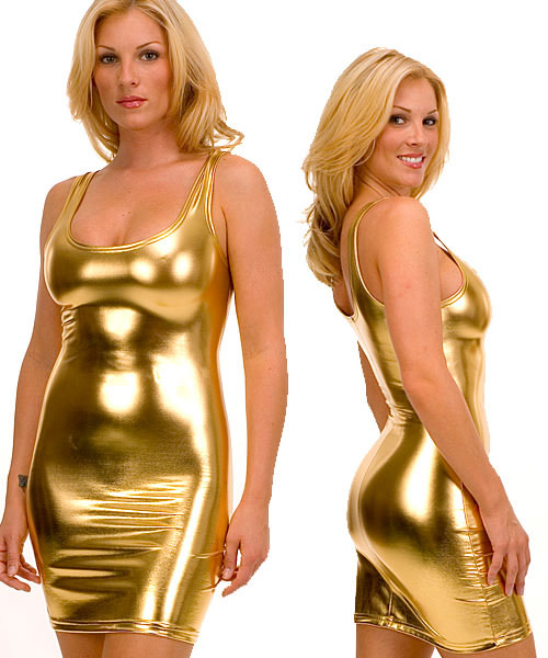 Tank Mini Dress in Super Stretch Liquid Gold Metalic Nylon Lycra