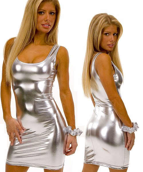 Tank Mini Dress in Super Stretch Liquid Silver Metalic Nylon Lycra