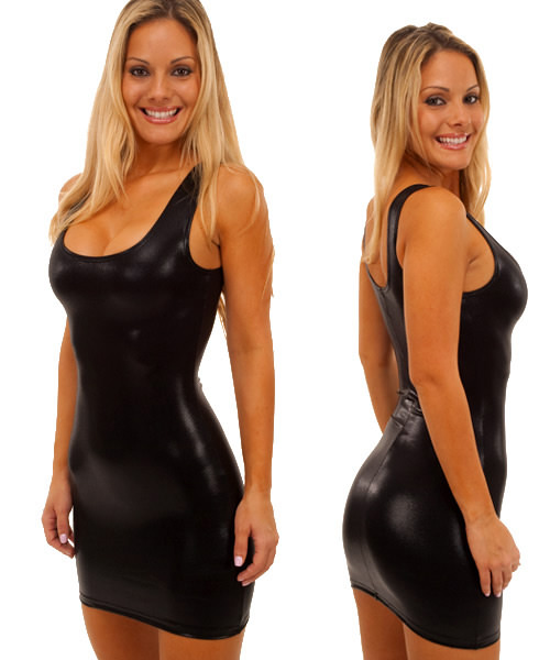 Tank Mini Dress in Super Stretch Black Mystique Metalic