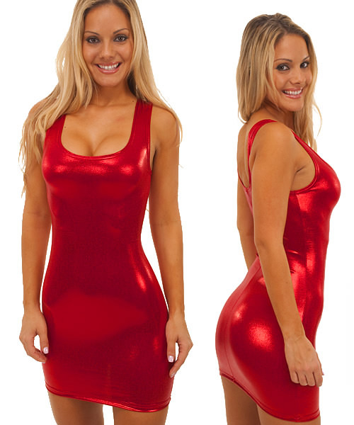 Tank Mini Dress in Super Stretch Mystique Volcano Red Vinyl
