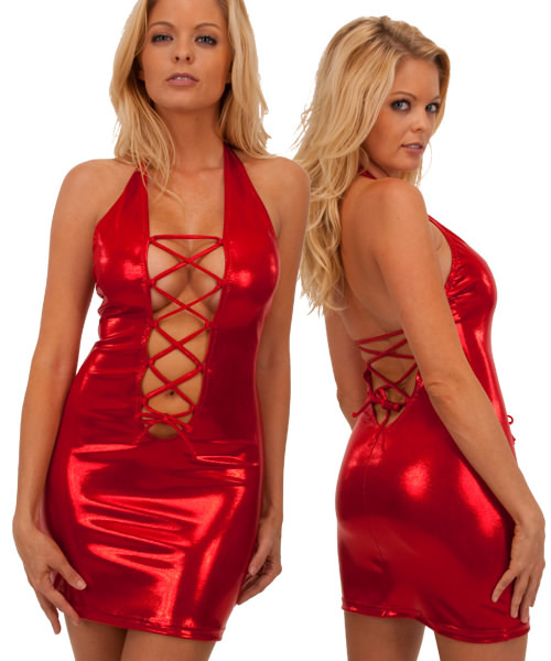 Lace Up Mini Dress in Super Stretch Red Mystique