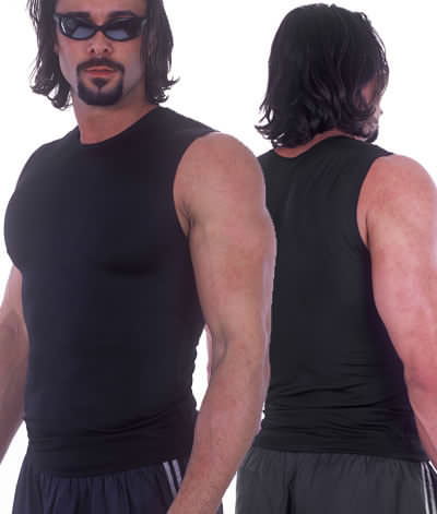 Muscle Tee in Black nylon/lycra