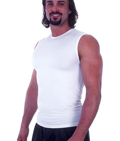 Muscle Tee in White nylon/lycra