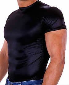 Body Tee Wet Look Black nylon/lycra
